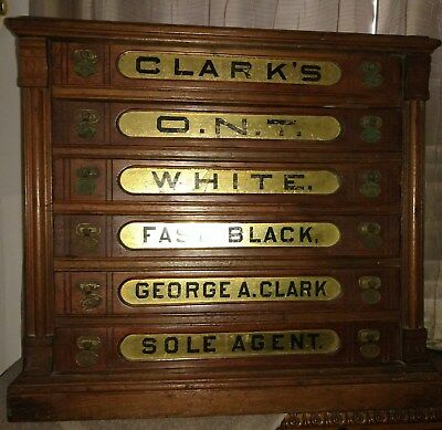 Antique Clark's Spool Cabinet Store Display Glass Cotton 6 Drawer ONT Sole Agent