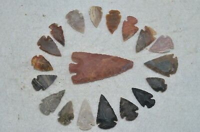 """19 PC Flint Arrowhead Ohio Collection Points 1-3"""" Spear Bow Knife Hunting Blade"""