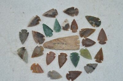 """25 PC Flint Arrowhead Ohio Collection Points 1-3"""" Spear Bow Knife Hunting Blade"""