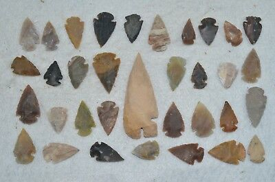"""34 PC Flint Arrowhead Ohio Collection Points 1-3"""" Spear Bow Knife Hunting Blade"""