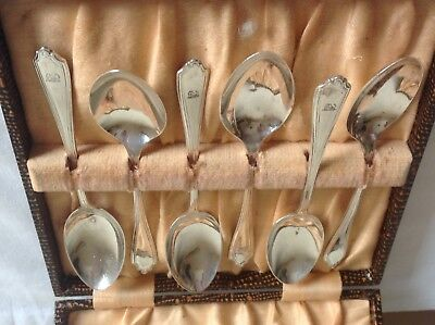 Vintage London Hallmarked Solid Silver Boxed Set of 6 Tea Spoons 1943 JW & Co