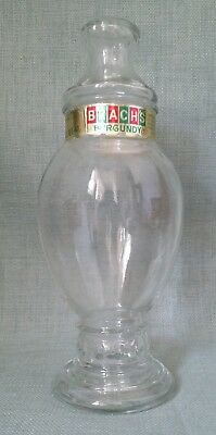 """Vintage 10"""" Clear GLASS Apothecary Jar with Lid ~ Brach's"""