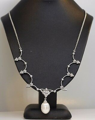 Gorgeou 18K White Gold Necklace With Diamonds And Pearl #l7