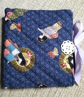 Quilted Handmade Needle Book Japanese Geisha navy Blue Fabric doily button
