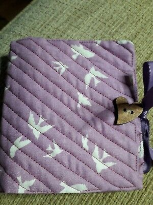 Quilted Handmade Needle Book Pink white bird Fabric wooden heart button