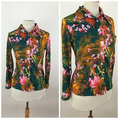 Vintage 70s Womens Blouse Small Shirt Long Sleeve Mod Art Deco Floral Collar