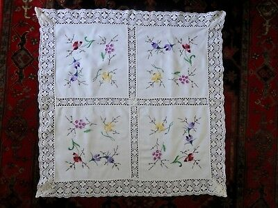 "Vintage hand embroidered table cloth with crochet inserts and border 32"" square"