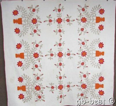 American Album! c 1850s Applique QUILT Antique 120 Elements URNs Flowers
