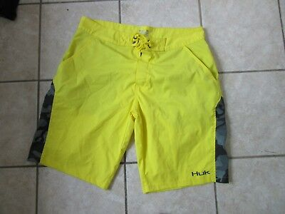 98e77db27f8f HUK Performance Fabrics MEN S Swim Fishing Board Shorts BLAZE YELLOW Sz 36