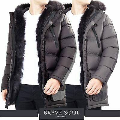 Mens Brave SouL Faux Fur Hooded Winter Puffer Jacket In Black AW18