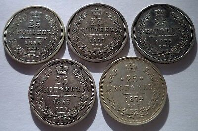 Russia 1853 1855 1858 1874 Set of 5 coins 25 Kopeks Silver