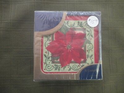 Pimpernel Poinsettia Coasters Set Of 6 New In Box