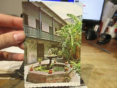 Vintage Old Postcard LOUISIANA New Orleans French Quarter Bosque Courtyard Fount