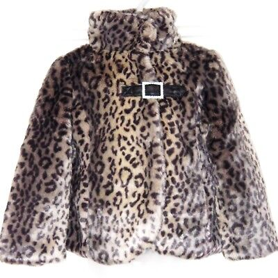 Next Girls Smart Faux Fur Coat 5-6 Yr Leopard Party Jacket Wedding Top Dress Hol