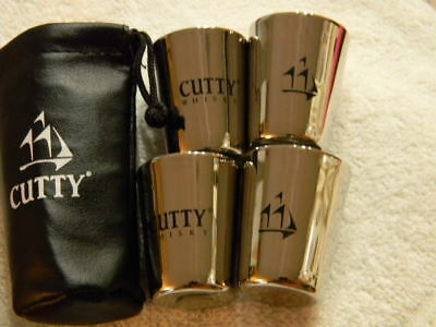Cutty Sark -whisky-  metal shot glass set- 4 - in black logo case- NEW and HTF