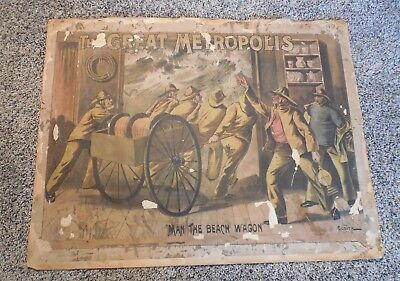 Antique 1880's 'Courier Lithograph Co.' Firefighting Lithograph