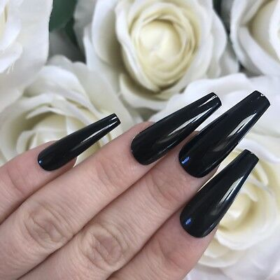 Hand Painted Full Cover False Nails.  X/Long Tapered Coffin Gloss Black Nails