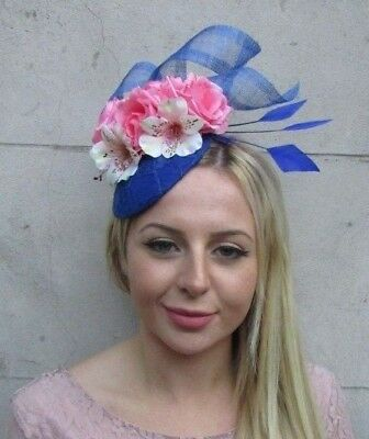 Royal Blue Coral Peach Blush Light Pink Flower Feather Hat Fascinator Hair 6377
