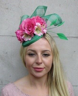 Emerald Green Hot Light Pink Flower Feather Hat Fascinator Wedding Hair 6378