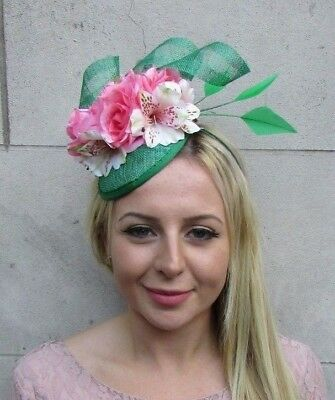 Emerald Green Blush Light Coral Pink Flower Feather Hat Fascinator Hair 6379