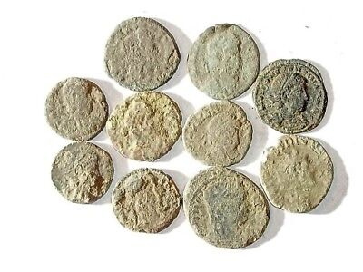 10 ANCIENT ROMAN COINS AE3 - Uncleaned and As Found! - Unique Lot 25933