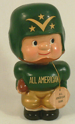 Nice Vintage All American Football Player Bobblehead Nodder Coin Bank wth Tag