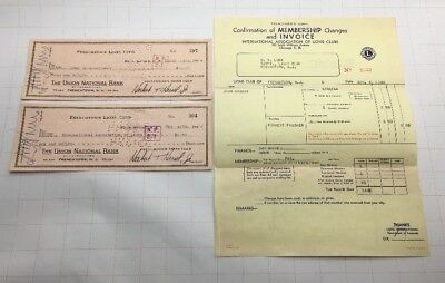 (2) 1944 Frenchtown Lions Club The Union National Bank Checks With Invoice