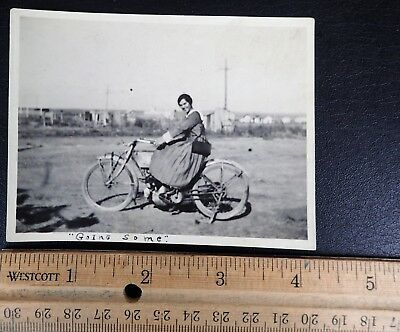 Original Photo Snapshot Young Lady On Motorcycle