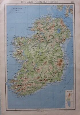 1942 Map ~ Physical Central Plain Eire Northern Golden Vale Mountains Of Kerry