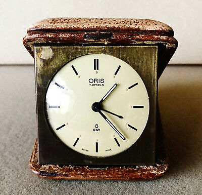 ORIS Antique Swiss 8 Day Leather case Pocket Travel Clock