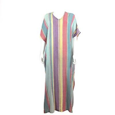 Sultana by Adini Vtg 70's Colorful Striped Kaftan Dress India One Size