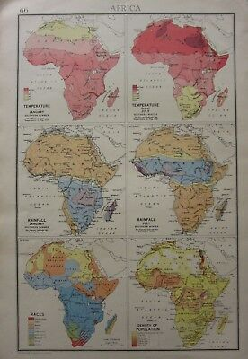 1942 Map ~ Africa Temperature January Juy Rainfal Races Density Of Population