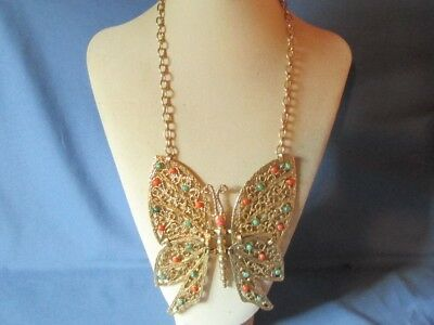 HUGE Vintage Gold-Tone Metal Multicolor Cabochon Butterfly Pendant Necklace