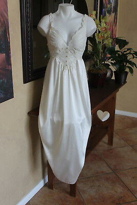 Two Stunning OLGA Ivory/Pink Silky Long Nightgown with Ivory lace bodice Sm