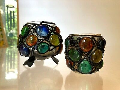 VTG 1960's~2 ART COLORED GLASS WIRED BEAD~CANDLE HOLDERS~COUNTER CULTURE HIPPY