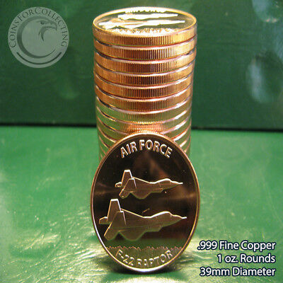 """20 """"US Air Force F-22 Raptor"""" 1oz .999 Copper 20 Beautiful Rounds 1 Roll in Tube"""