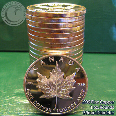 """20 """"Canada Maple Leaf"""" 1oz .999 Copper 20 Beautiful Rounds 1 Roll in Tube"""