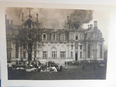 Antique WW1 GERMAN Real Photo RPPC Postcard BURNING ESTATE AIDE STATION FRANCE