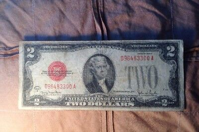1928 G Series $2 Two Dollar Red Seal Note Bill US Currency