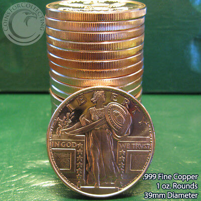 """20 """"Standing Liberty"""" 1oz .999 Copper 20 Beautiful Rounds 1 Roll Tube"""