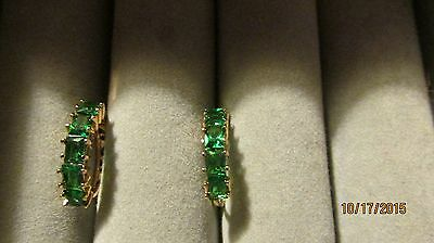 Pretty 9k solid gold filled emerald women hoops earrings new without tags!