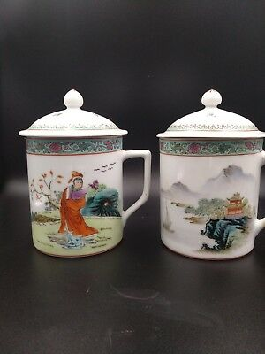Vintage Chinese Porcelain Tea Cup Mug With Lid Asian Motif