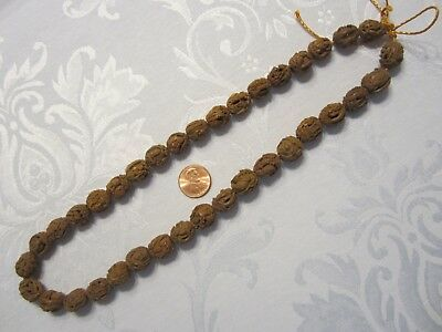 36 Vtg Antique Exquisitely Hand Carved Quing Chinese Hediao Seed Nut Pit Beads