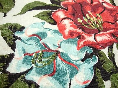 Vintage 1950's Barkcloth Fabric Material 4 FT x 7.33 FT Tropical MCM Gorgeous!