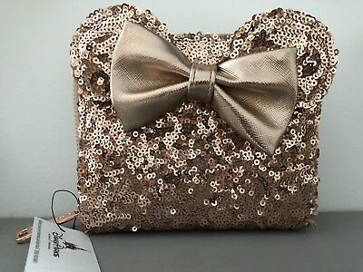 Disney Loungefly Rose Gold Ears Sequin Minnie Wallet NWT