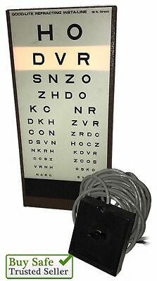 Vintage GOOD LITE  16ft Visual Acuity Eye Chart Cabinet Light includes Remote