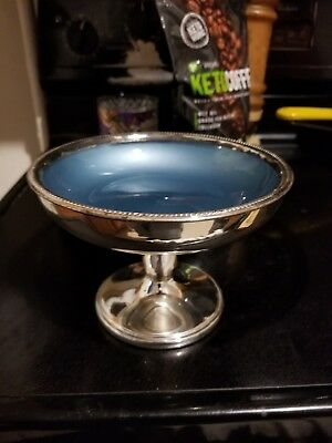 Mid-Century Modern W&S Blackinton Silver Plate and baby blue Enameled compote