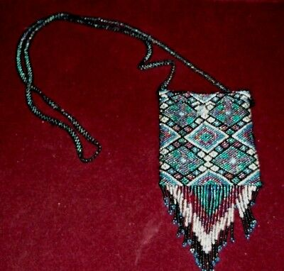 Native American Artist Hand Made Glass Beads Medicine Bag Vintage Beautiful MINT
