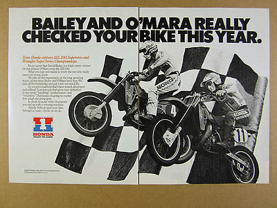 1983 Team Honda motocross racing racers photo CR Motorcycles vintage print Ad