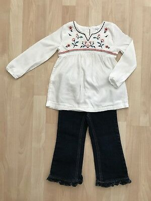 Girls 4T The Children's Place Ruffle Flare Jeans Carters Embroidered Top Shirt